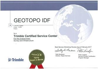 Certification Trimble pour Geotopo Lisses IDF